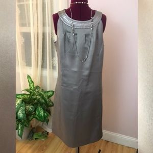 Beautiful silver gray satin sheath dress